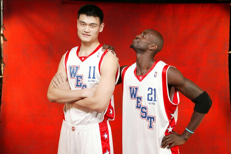 At the time of Chinese basketball player Yao's final season in 2011, he was the tallest player in NBA history, at 2.29 m (7 ft 6 in).